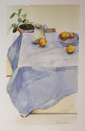 four studies oranges on a blue tablecloth cassandra art paintings